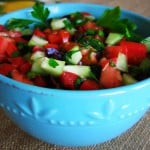 Mediterranean Salad in blue bowl