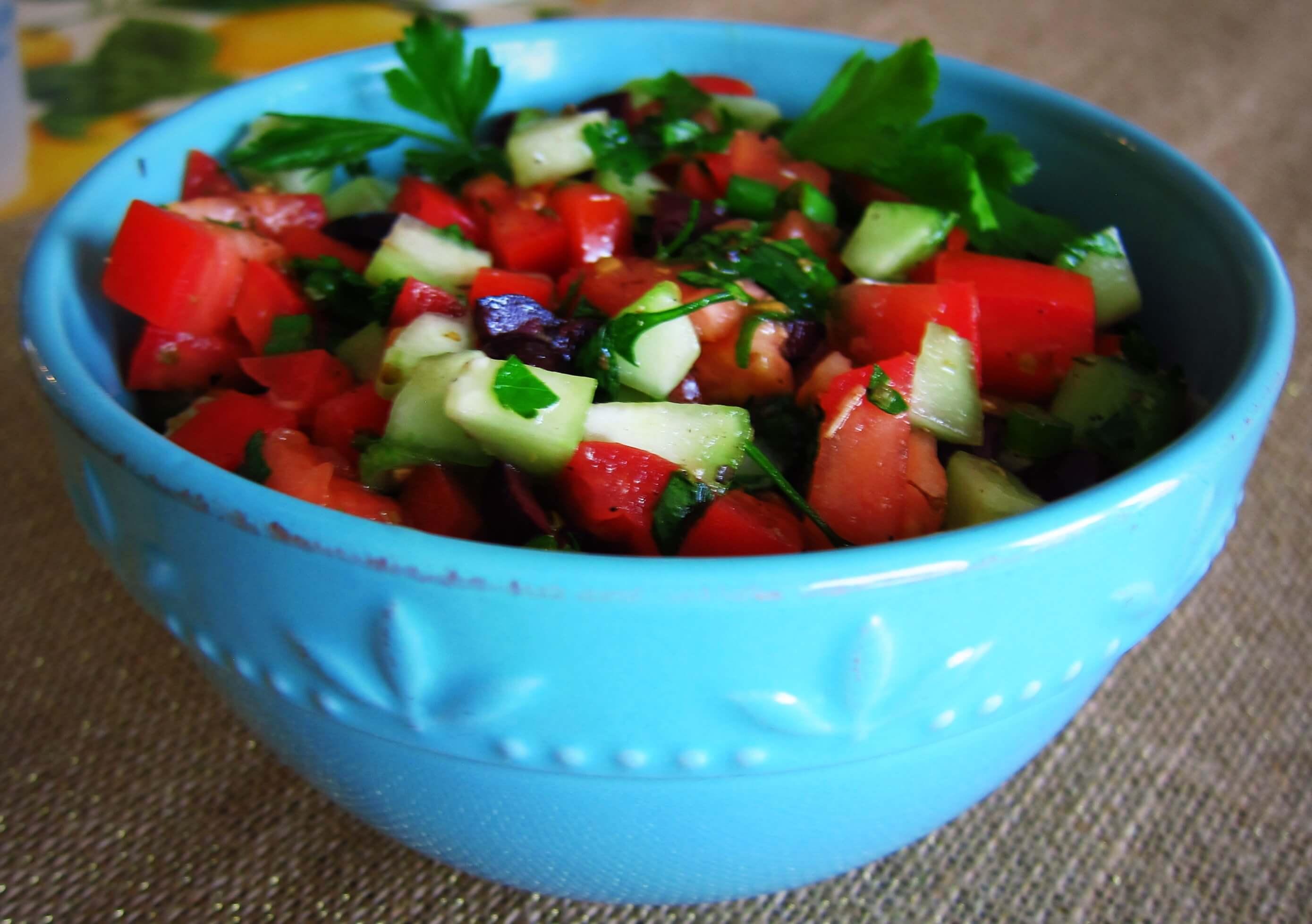 Mediterranean Salad in blue bowl