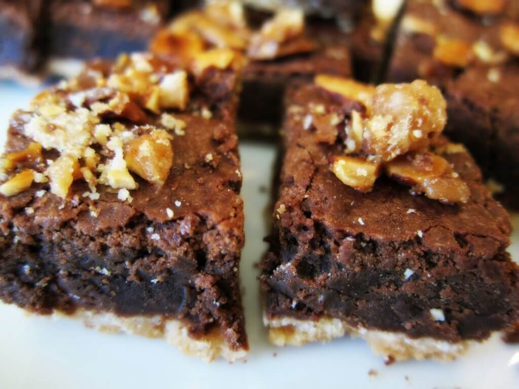 Almond Brittle Brownies side by side