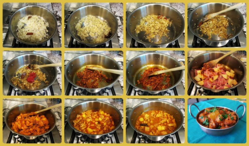 Indian Chicken Curry Cooking Stages