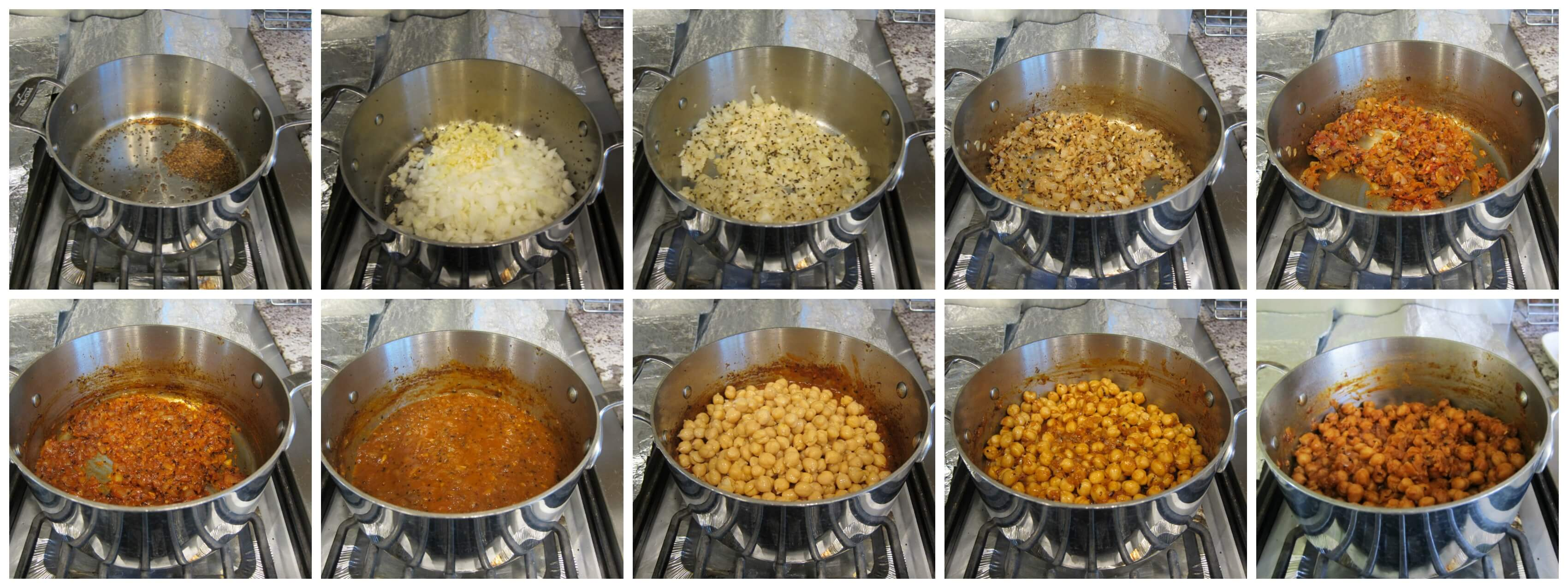 Chana Masala Stages of Cooking