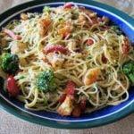 Garlic Shrimp Pasta top view