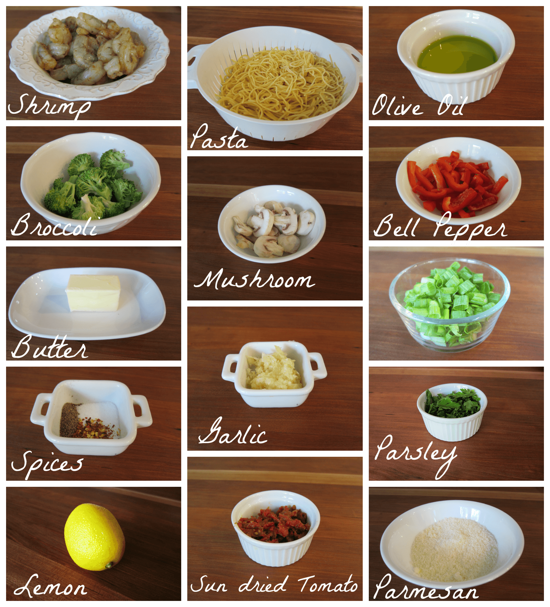 Garlic Shrimp Pasta Ingredients