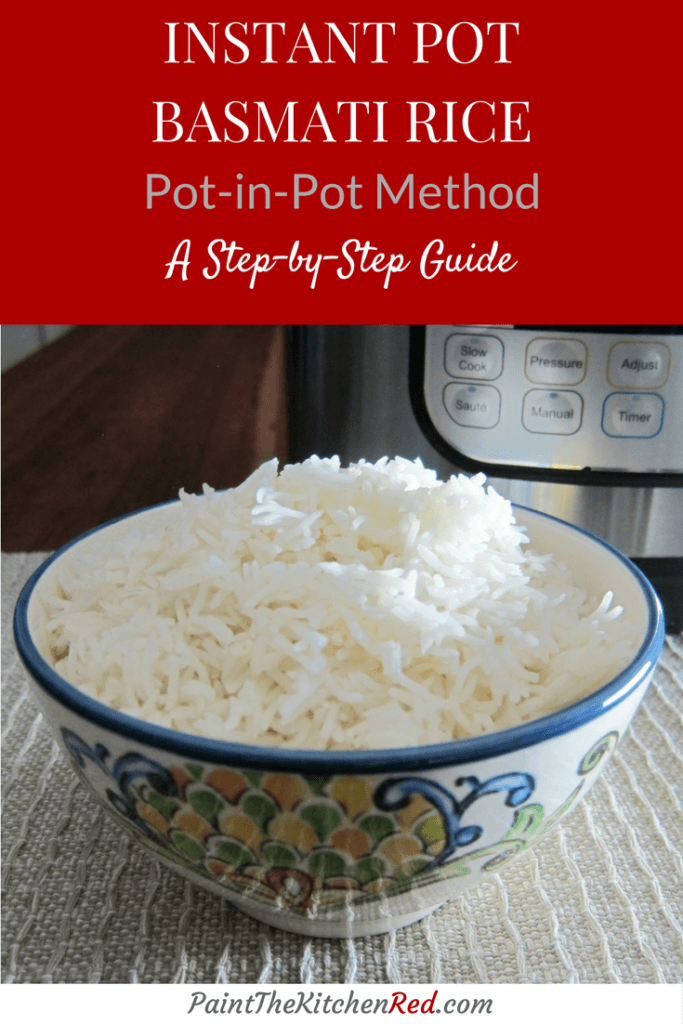 Instant Pot Rice Pot in Pot Method pinterest pin with text on top and rice in flowery bowl with instant pot in the background
