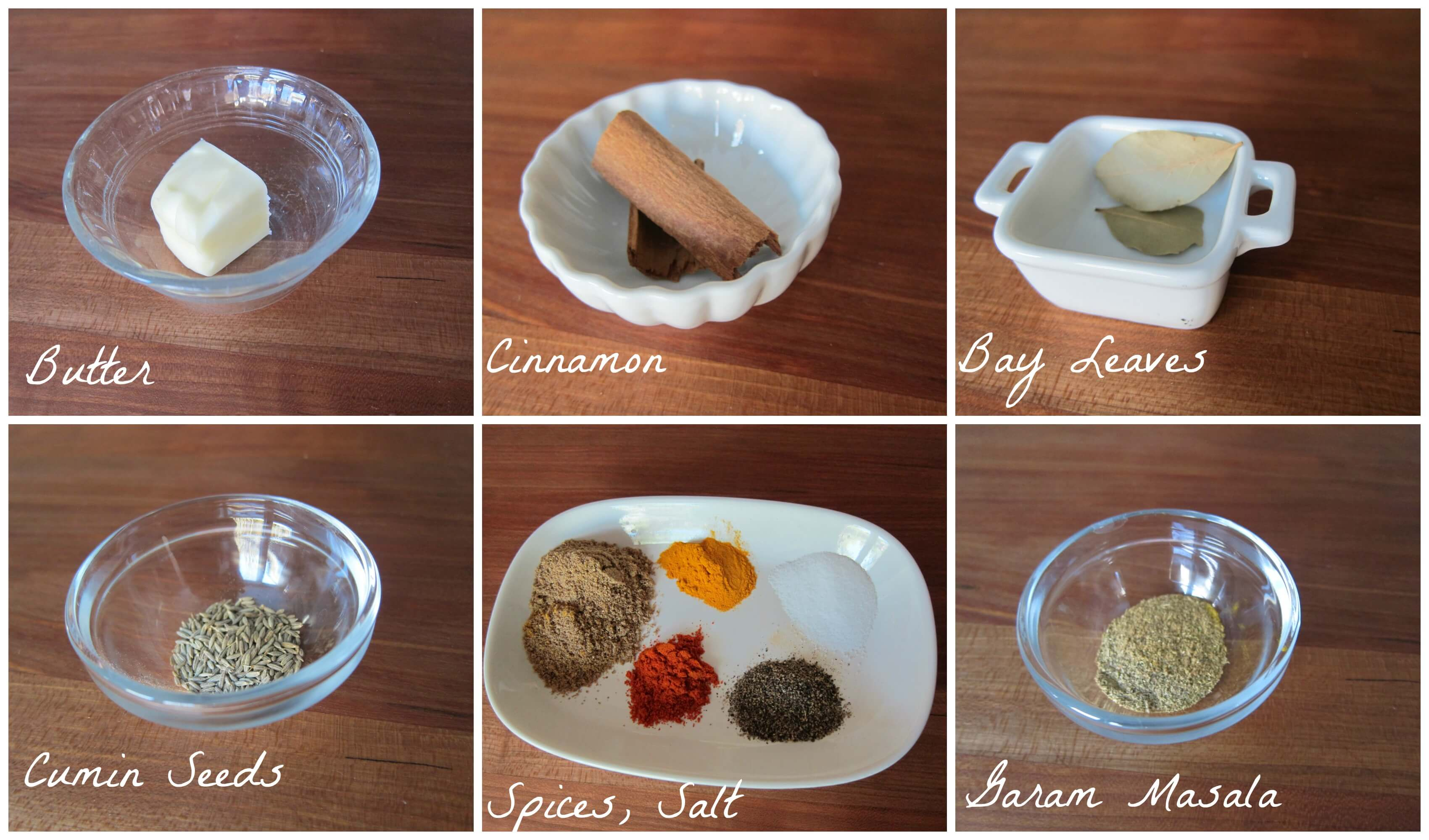 Instant Pot chiicken curry ingredients - butter, cinnamon, bay leaves, cumin seeds, spices, salt, garam masala