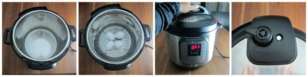 Instant Pot Hard Boiled Eggs Instructions 1 collage: instant pot with water, rack with 4 eggs, close lid, pressure release handle in sealing position
