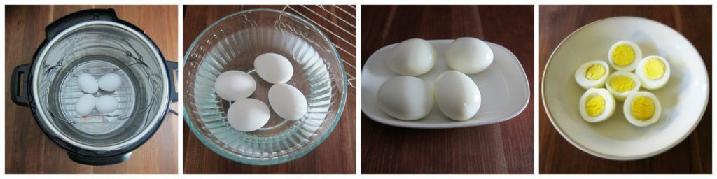 Instant Pot Hard Boiled Eggs instructions 4 collage - eggs on steam rack, eggs in water to cool down, peeled eggs on plate, cut eggs in bowl