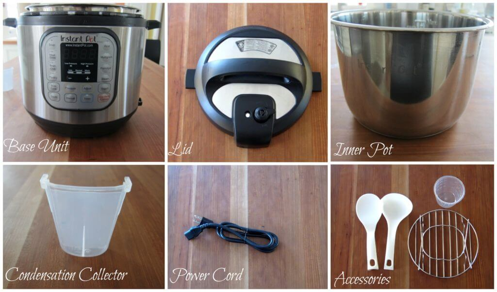 Instant Pot Manual - Parts - base unit, lid, inner pot, condensation collector, power cord, spoons, measuring cup, trivet