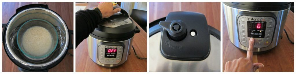 Instant Pot Rice Pot in Pot collage - rice bowl on trivet, close lid, steam release in sealing position, instant pot display shows 6 minutes - Paint the Kitchen Red