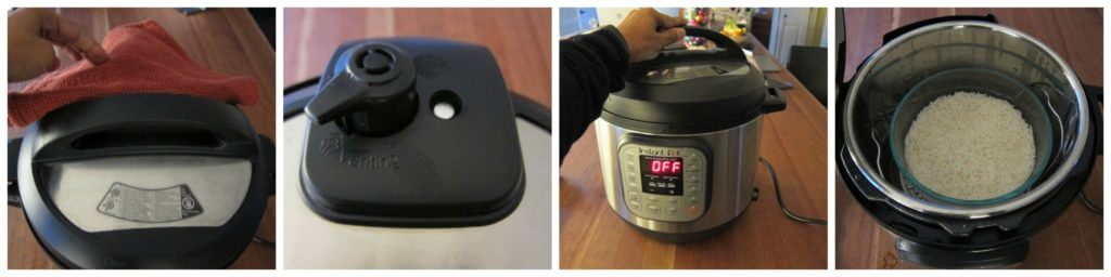 Instant Pot Rice Pot in Pot collage - move steam release to venting, open lid, cooked rice in bowl
