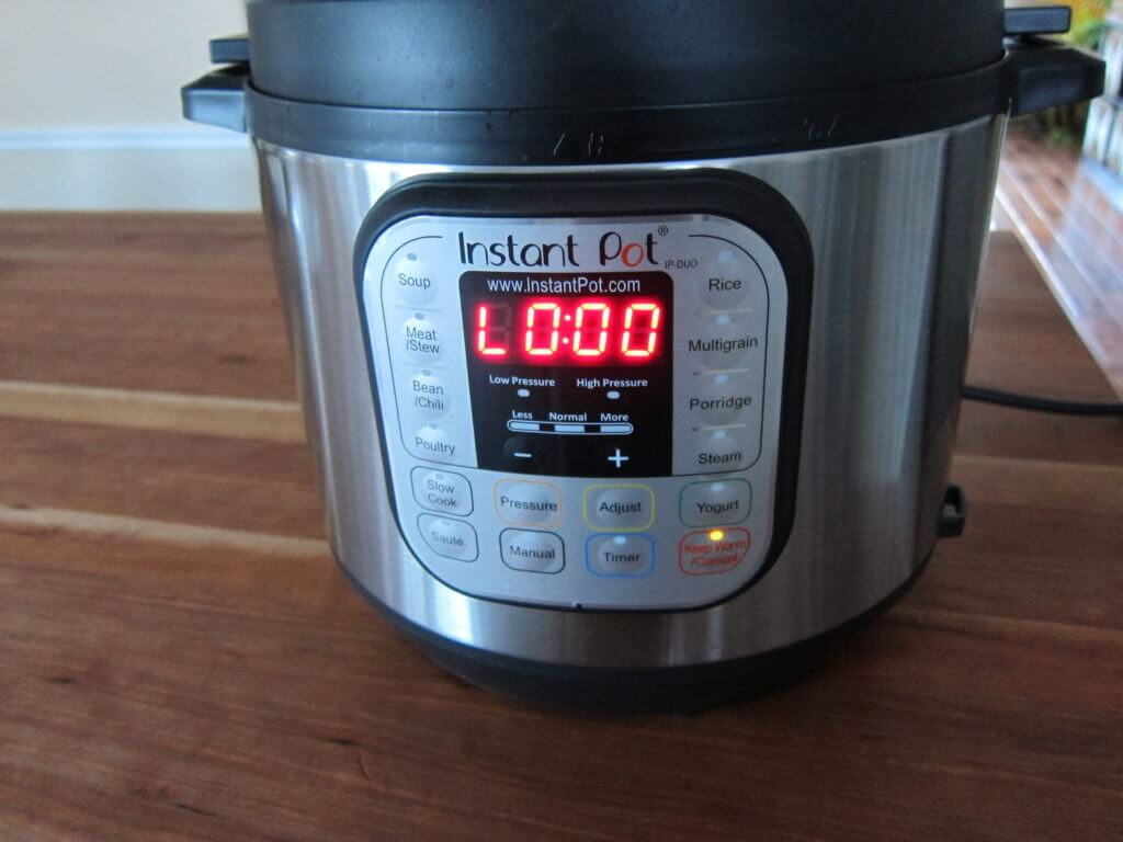 Instant Pot Manual - Water Test Complete - Instant Pot on wooden countertop showing L0:00 and Keep Warm light on