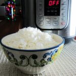 Instant Pot Basmati Rice Pot in Pot (PIP) flowery bowl of rice with Instant Pot in background - Paint the Kitchen Red