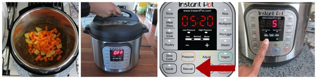 Instant Pot Beef Curry Instructions Part 7 collage - add carrots and potatoes, close lid, press manual, adjust time to 5 minutes - Paint the Kitchen Red