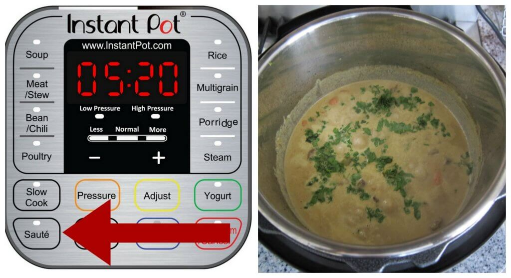 Instant Pot Beef Curry Instructions Part 9 collage - press saute, cooked coconut milk and sprinkled cilantro - Paint the Kitchen Red