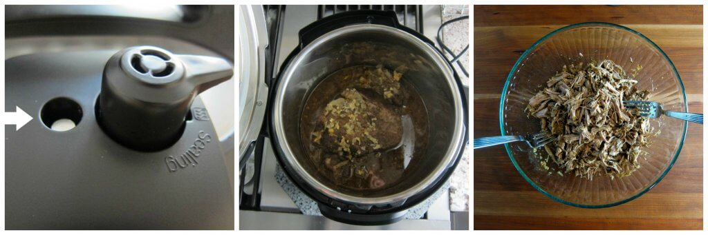 Instant Pot Carnitas Instructions 3 collage - float valve is down, cooked pork, shredded pork in bowl with 2 forks - Paint the Kitchen Red