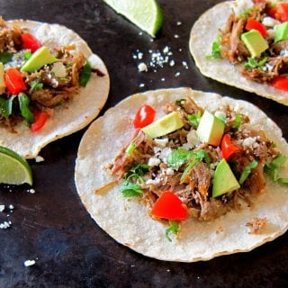 Instant Pot Carnitas landscape open tacos - Paint the Kitchen Red