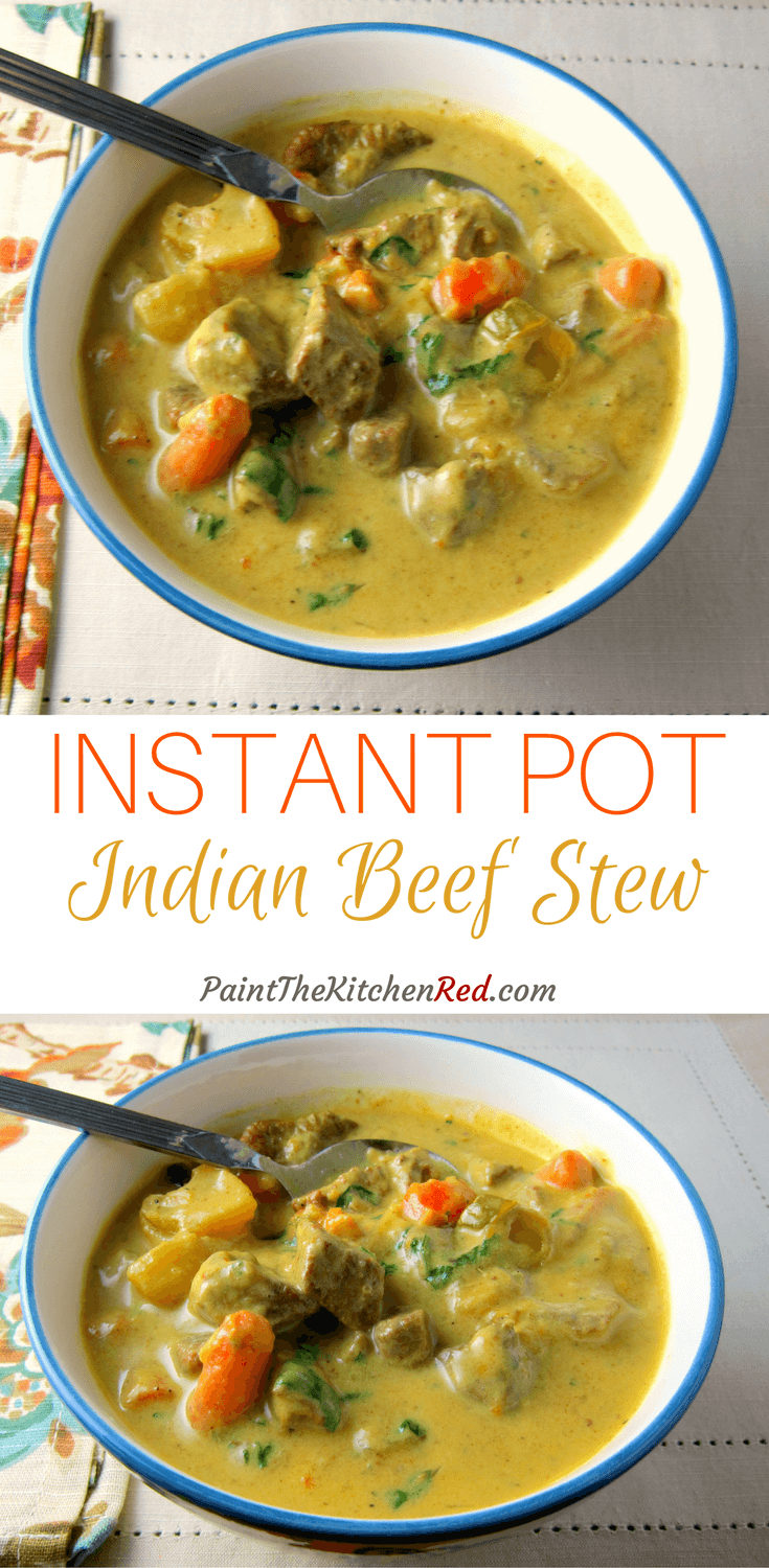 Instant Pot Beef Curry / Beef Stew is one of the simplest yet tastiest beef curries you'll make. Coconut milk, turmeric, and jalapenos make it rich, flavorful and spicy! This Instant Pot pressure cooker beef curry is adapted from a beef stew popular in the state of Kerala in India. #instantpot #beef #kerala #indian #curry