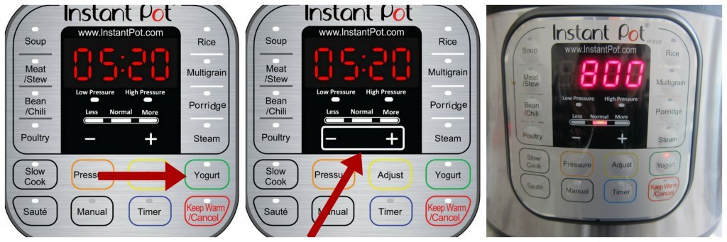 Instant Pot Yogurt Instructions collage - arrow pointing to yogurt, arrow pointing to - +, display shows 800 - Paint the Kitchen Red