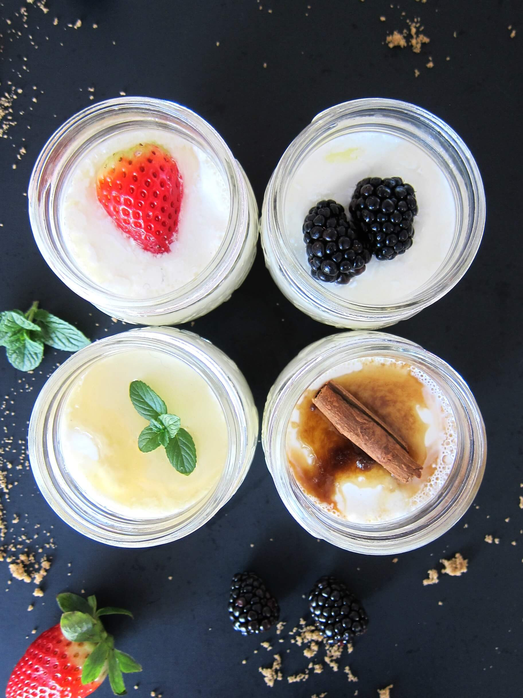 Instant Pot Yogurt - individual mason jars of yogurt: strawberry, honey mint, cinnamon brown sugar, blackberries