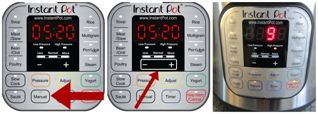 Instant Pot chocolate lava cake Instructions 5 collage - instant pot panel with arrows pointing to manual, + and -, 9 minutes in LCD display - Paint the Kitchen Red