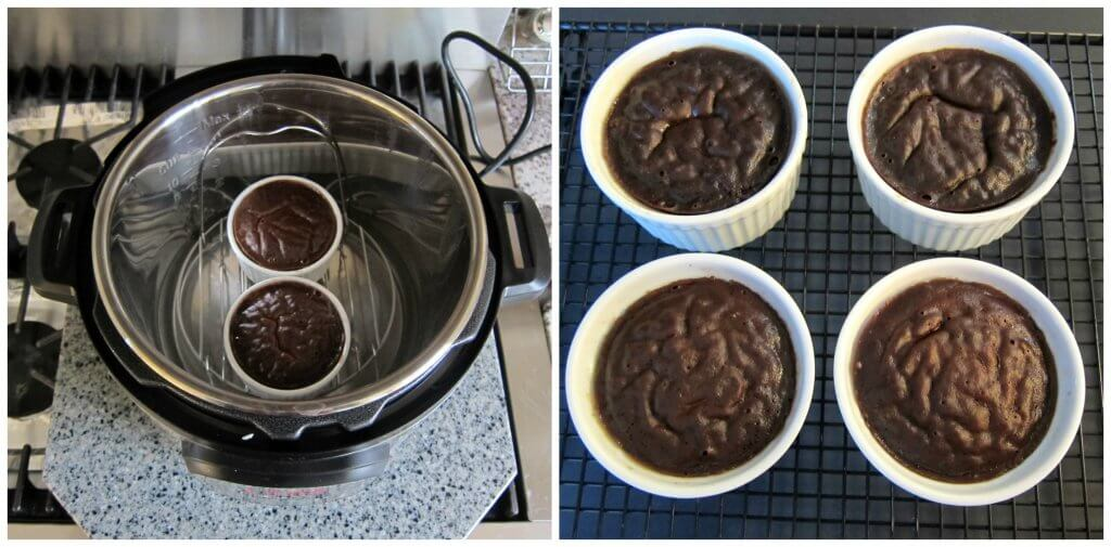 Instant Pot chocolate lava cake Instructions 6 collage - cooked lava cake in 2 ramekins, 4 cooked ramekins on a cooling rack - Paint the Kitchen Red
