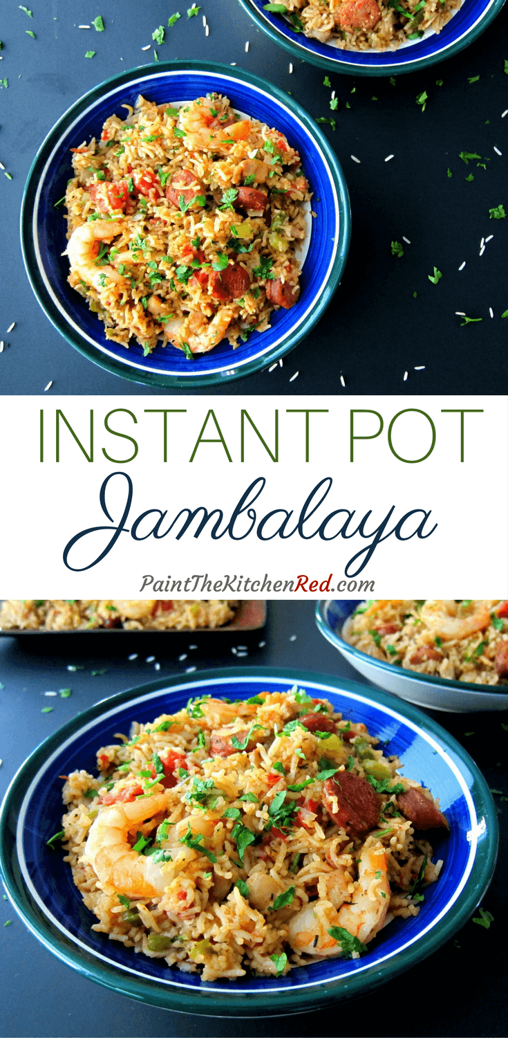 This Instant Pot Jambalaya was adapted from an authentic Creole Jambalaya recipe and has spicy andouille sausage, chicken and shrimp combined with rice, is flavored with Cajun spices and cooked to perfection. A delicious one-pot meal that you can make so quickly if you have all the ingredients ready. #instantpot #jambalaya #cajun #rice