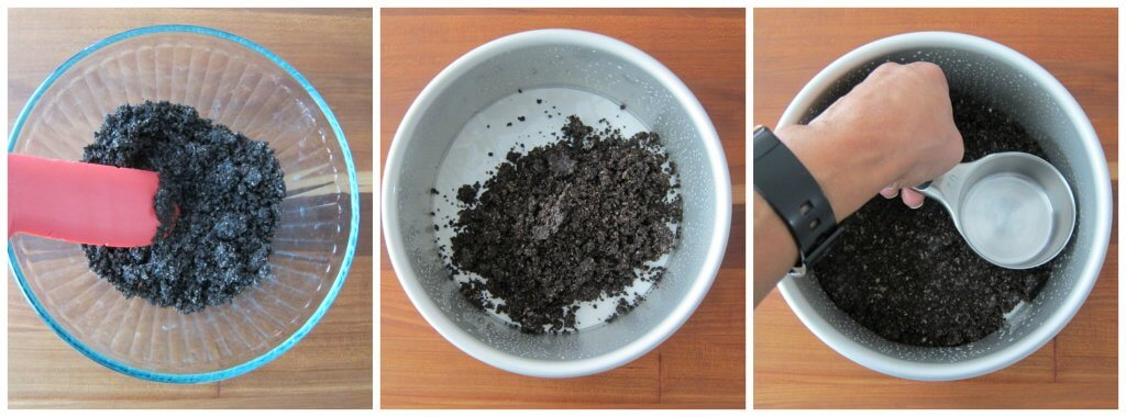 Instant Pot Oreo Cheesecake Instructions collage - oreos crushed, in push pan, pressed down with measuring cup - Paint the Kitchen Red
