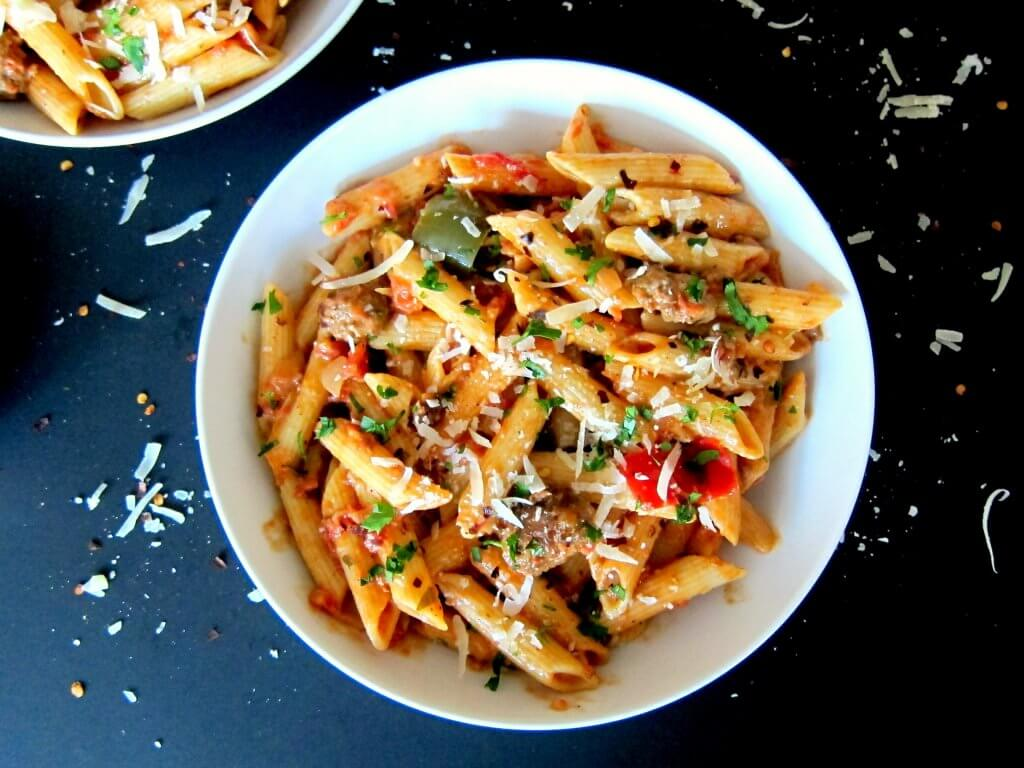 instant pot pasta  penne with sausage in tomato cream