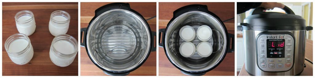 Instant Pot Yogurt Instructions collage - 4 jars with milk, Instant Pot with trivet and water, jars on trivet, close lid - Paint the Kitchen Red