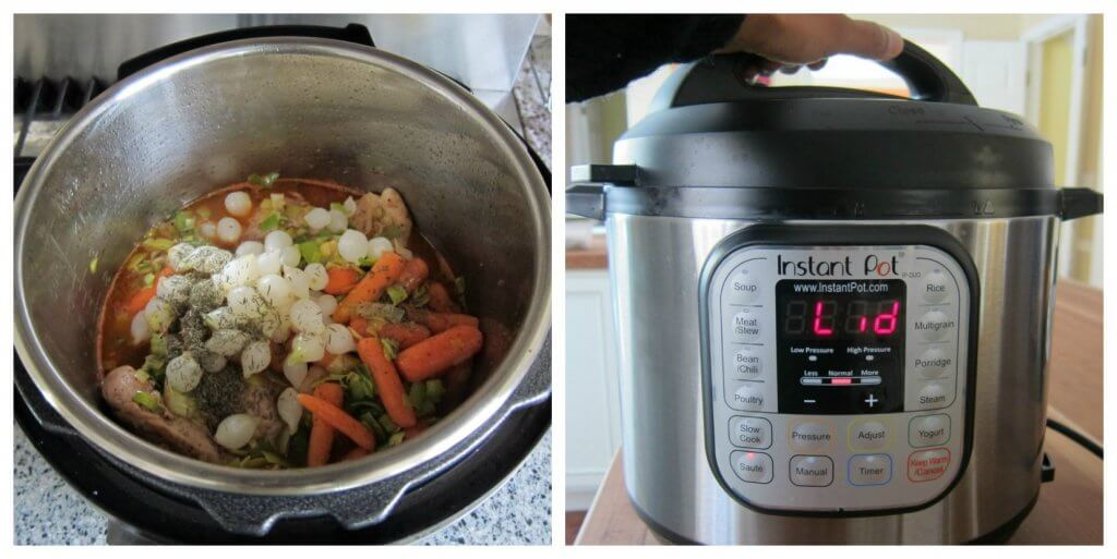 Instant Pot Coq au Vin Blanc Instructions collage - pearl onions, broth, thyme and all ingredients for cooking, Instant Pot lid being closed - Paint the Kitchen Red