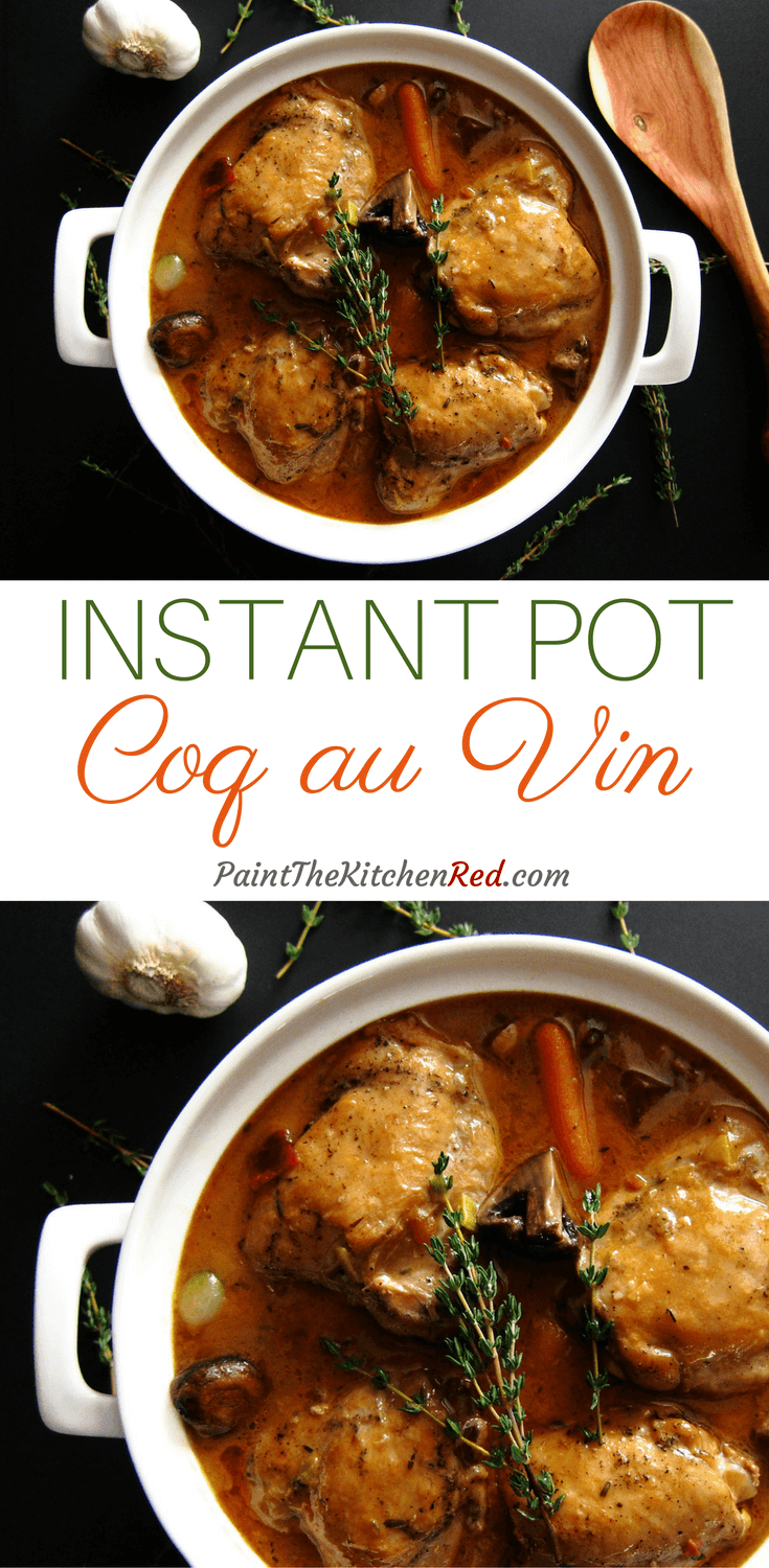 This Hearty Instant Pot Coq Au Vin Blanc is a classic comfort food. A twist on the traditional Coq au Vin (which is made with red Burgundy wine), this dish is made with dry white wine and pairs so well with heavenly Instant Pot mashed potatoes and parsnips.