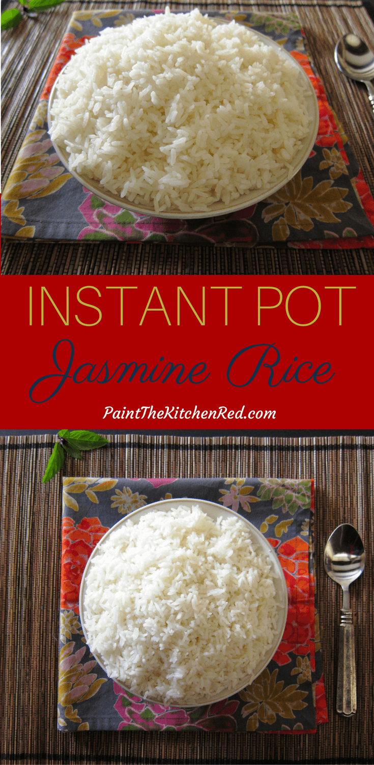 Instant Pot Jasmine Rice is the perfect complement to Thai curries. This recipe gives you perfectly cooked fragrant Jasmine rice every time, quick and easy. You'll never go back to long grain rice with Thai food! This recipe can also be cooked using the Pot in Pot method. #instantpot #rice #jasminerice #thai