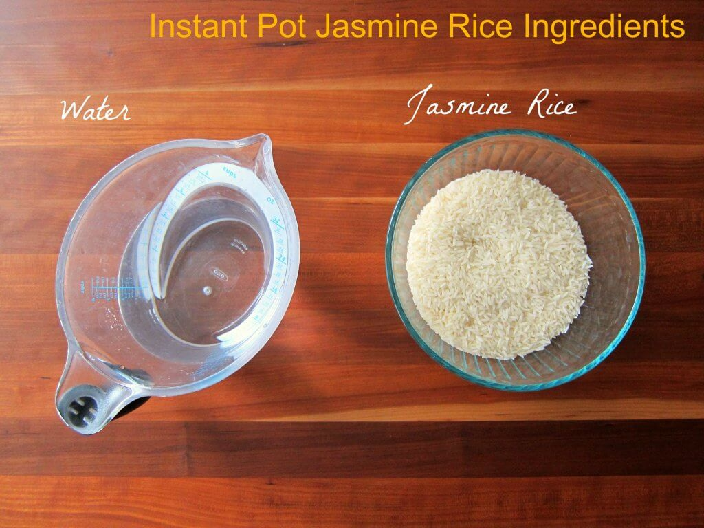 Instant Pot Jasmine Rice - Ingredients water and Jasmine Rice- Paint the Kitchen Red