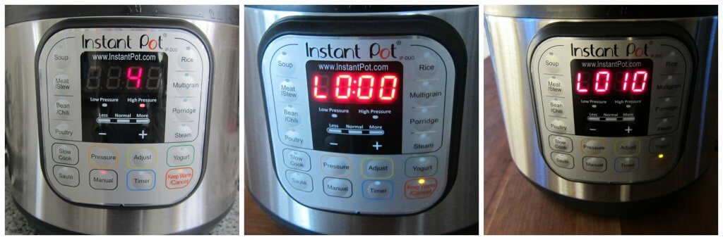 Instant Pot Jasmine Rice Instructions 3 cooking for 4 minutes collage - 4 minutes, L0:00, L010 - Paint the Kitchen Red