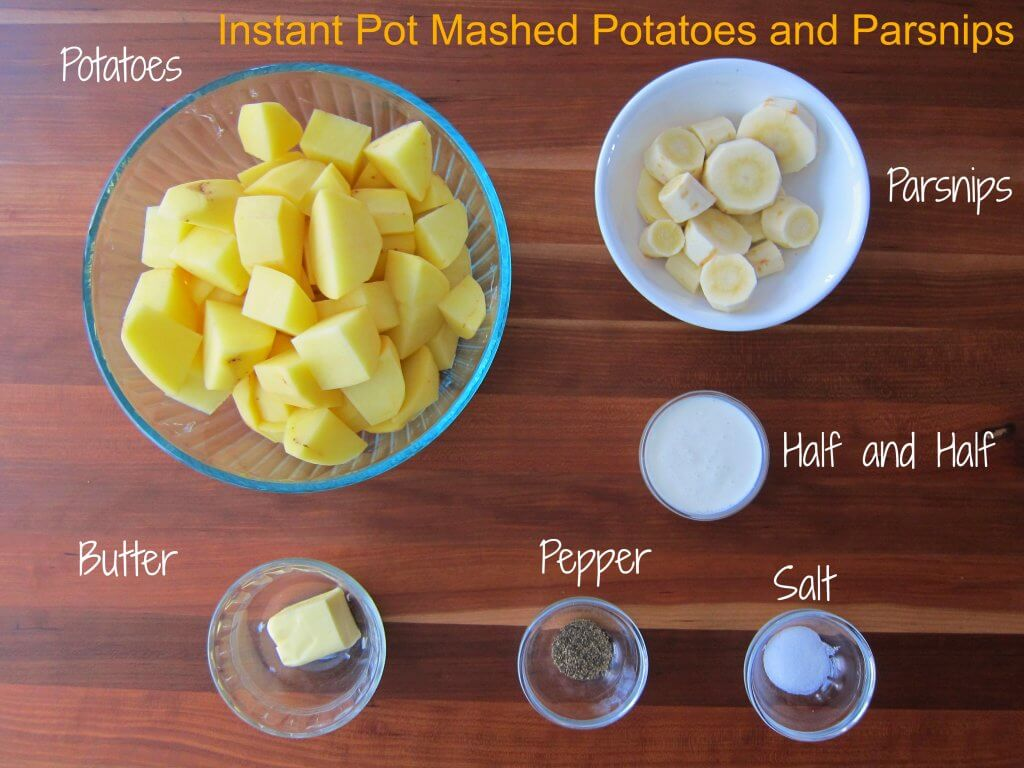 Instant Pot Mashed Potatoes and Parsnips Ingredients - potatoes, parsnips, butter, half and half, pepper, salt - Paint the Kitchen Red