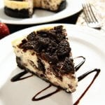 Instant Pot Oreo Cheesecake on a plate - Paint the Kitchen Red