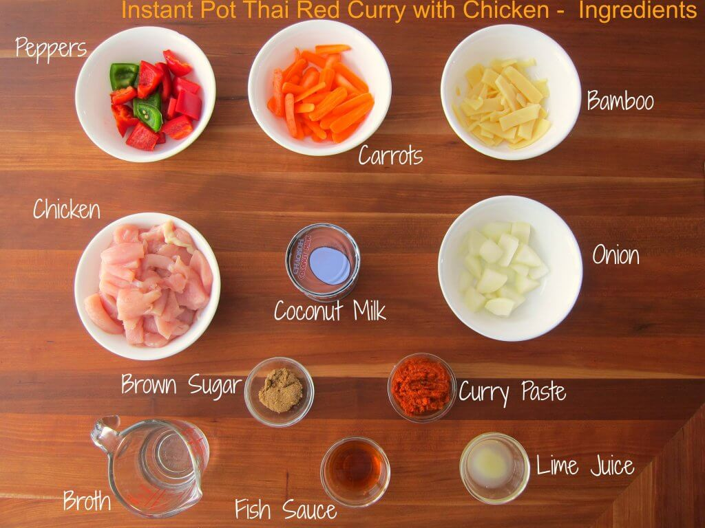 Instant Pot Thai Red Curry Chicken Ingredients - peppers, carrots, bamboo, chicken, coconut milk, onion, brown sugar, curry paste, broth, fish sauce, lime juice - Paint the Kitchen Red