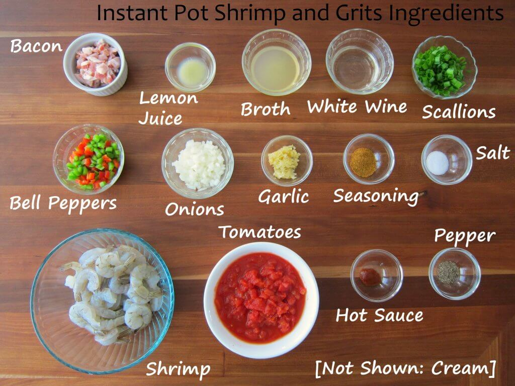 Best Instant Pot Shrimp and Grits Ingredients - bacon, lemon juice, broth, white wine, scallions, bell peppers, onions, garlic, seasoning, salt, shrimp, tomatoes, hot sauce, pepper, not shown: cream - Paint the Kitchen Red