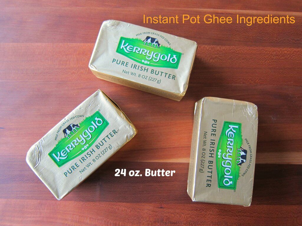 Instant Pot Ghee Ingredients - 3 8-oz. packages of Kerrygold pure Irish butter - Paint the Kitchen Red