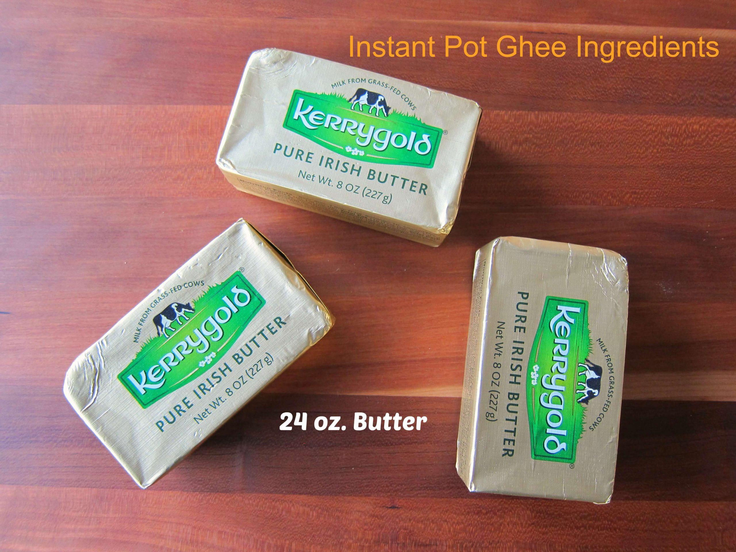 Instant Pot Ghee Ingredients  - 3 sticks of Kerrygold butter