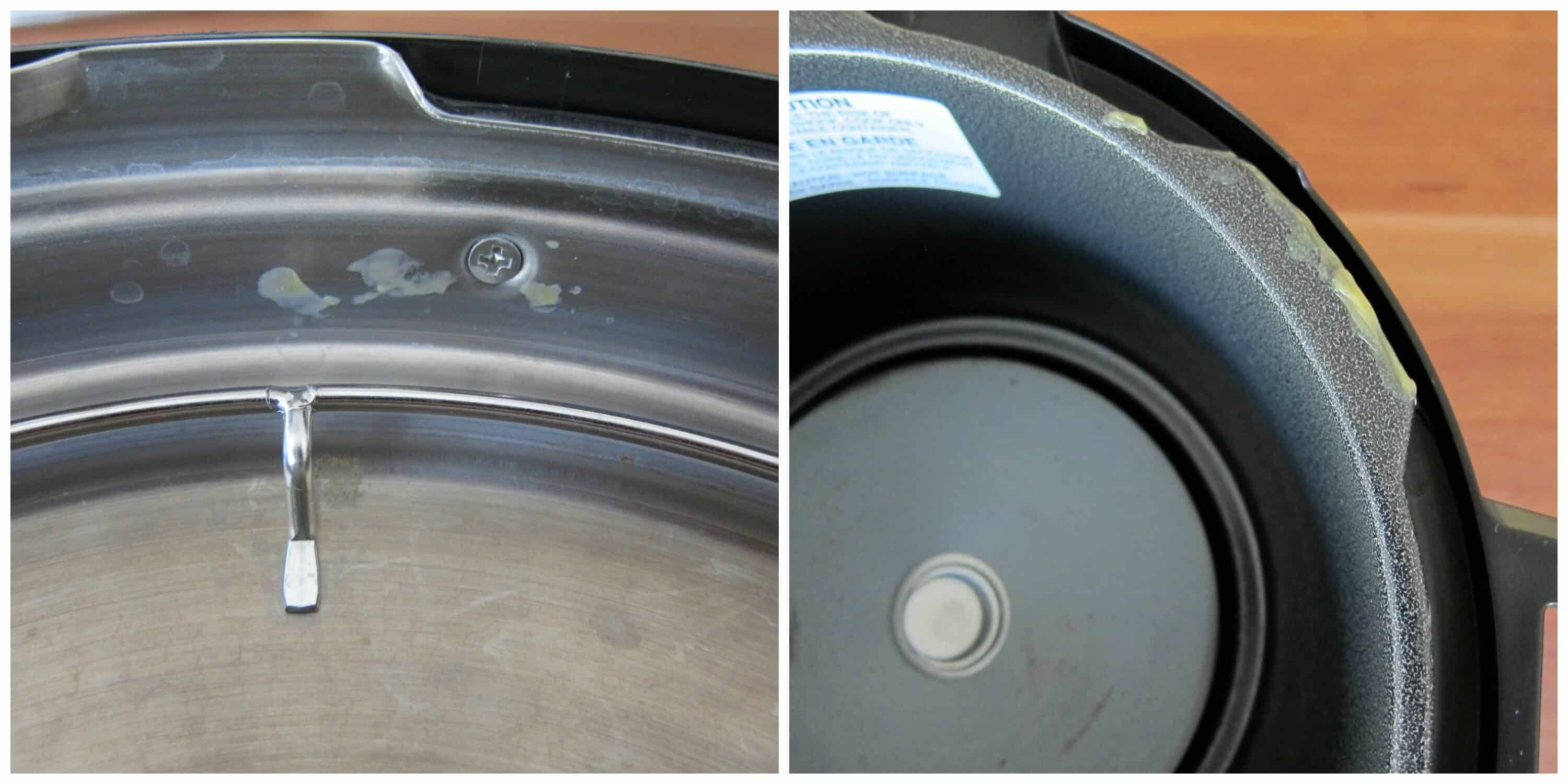 Collage showing food particle on inside of lid and lid area of inner pot base unit