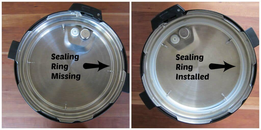 Instant Pot collage of lid with arrow pointing to sealing ring missing and properly installed