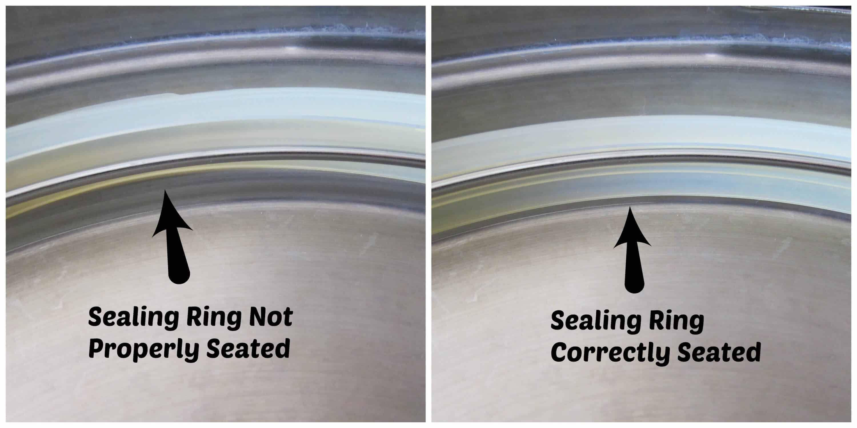 Sealing ring not seated properly and seated properly