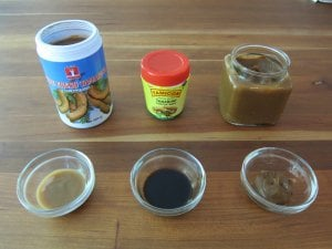 Instant Pot Beef Massaman Curry - Thai, Indian and homemade tamarind pastes in jars and also in small bowl- Paint the Kitchen Red