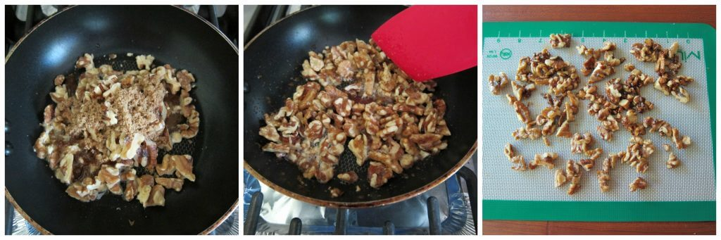 Instant Pot Beet Salad Candied Walnuts Cook - frying pan with walnuts and brown sugar being stirred, cooling on silicone mat - Paint the Kitchen Red