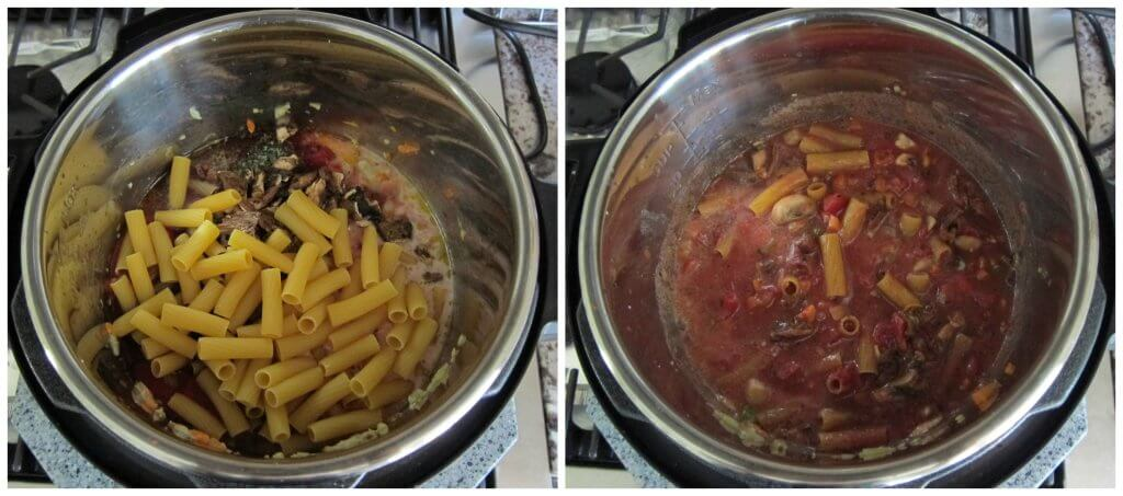 Instant Pot Vegetarian Pasta Step by Step Instructions collage - add all ingredients and stir - Paint the Kitchen Red