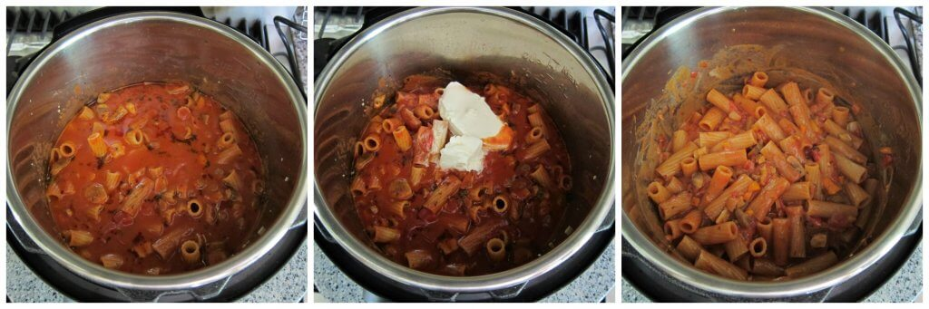 Instant Pot Vegetarian Pasta Step by Step Instructions collage - opened instant pot, add mascarpone and stir - Paint the Kitchen Red