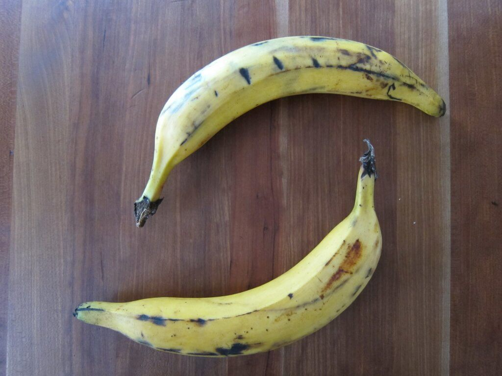Two ripe plantains for jerk chicken side dish