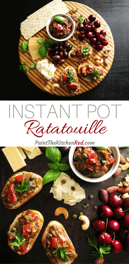 Instant Pot Ratatouille is a delicious satisfying vegetarian dish made with summer's bounty of zucchini, bell pepper, eggplant, tomato and fresh herbs. From Paint the Kitchen Red