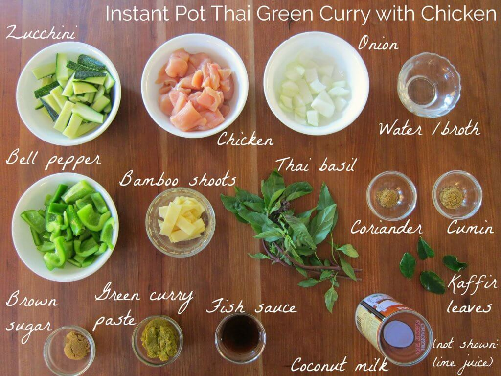 Instant Pot Thai Green Curry Ingredients - zucchini, chicken, onion, water, bell pepper, bamboo shoots, Thai basil, coriander, cumin, brown sugar, green curry paste, fish sauce, coconut milk, lime leaves, (not shown lime juice) - Paint the Kitchen Red